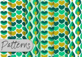 Conjunto de padrões florais geométricos verdes
