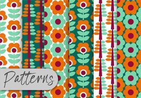 Conjunto de padrões florais geométricos coloridos