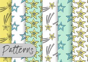 Conjunto de Padrões de Estrelas Doodle