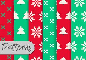 Christma Pixel Pattern Set  vector