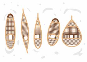 Wooden Snowshoe Set Vector