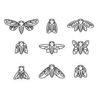 Fliegen und Zikade Vektor Lineart