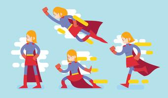 Superwoman-Charakter, der Aktions-Vektor-flache Illustration tut