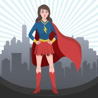 Beautiful Superwoman Vector Illustration