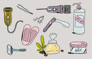 Waxing Kit Hand getekende vector illustratie