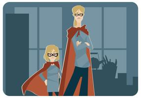 Super-Mom y Super-LilGirl Vector