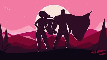 Superwoman And Superman Vector