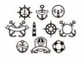 Gratis Nautical Badge Collection Vector