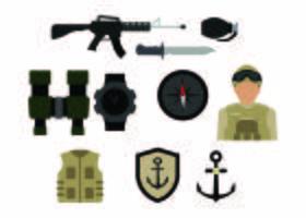 Vecteur gratuit d'icône coloré de l'armée