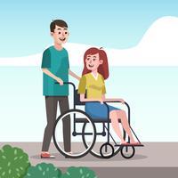 Gehandicapte Persoon Verzorging Vector Illustratie Vriendelijkheid Concept