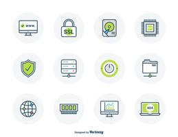 Hosting Filled Outline Icons vector