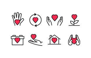 Ícones de caridade com vetores de cores Duotone