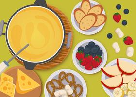 Cheese Fondue With Dessert Vector