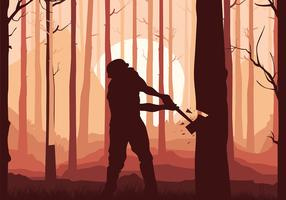 Woodcutter Silouette Free Vector
