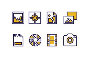 Photography Icons with Duotone Colors vector