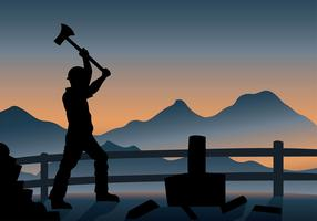 Woodcutter silhouette afternoon free vector
