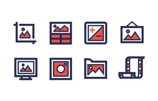 Photography Icon Set with Duotone Colors vector