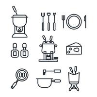 Outlined Fondue Icons vector