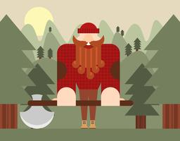 Woodcutter Landscape Flat Illustration Vector