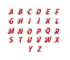 3D Font Red Silver Free Vector