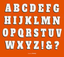 Coleção de letras de tipo 3D de vetor branco