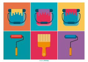 Paint Brushes and Buckets Icon Collection
