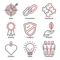 Bedrijf Core Value Icons