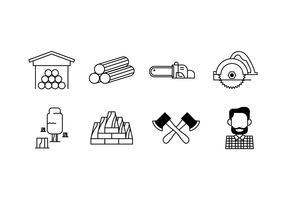 Woodcutter set icon