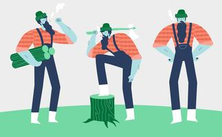 Lumberjack Woodcutter Character vector Flat Illustration