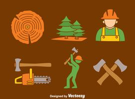 Woodcutter On Brown Vector