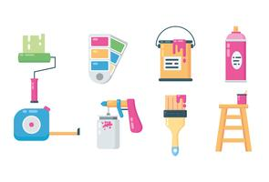 Paint Equipment Icons vector