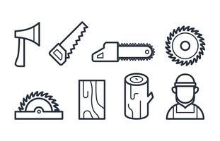 Icone del boscaiolo nei vettori di stile lineare