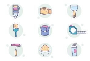 Painting Equipment Icons vector