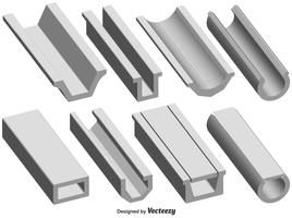 Vector Set Of 3d Roof Gutter Shape