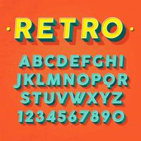 retro 3d font vektor