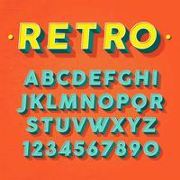 Retro 3D Font Vector