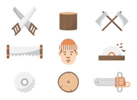 Woodcutter Icons Vector