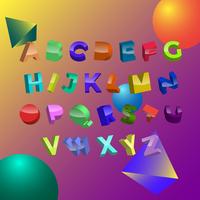 Modern 3D Fonts Vector
