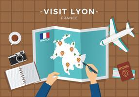Bezoek Lyon Plan Gratis Vector