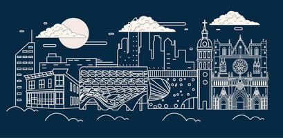 lyon cityscape vector