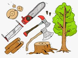 Woodcutter Tools Handdragen Vector Illustration