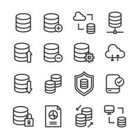 Outlined Icons About Data Base vector