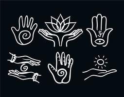 Healing hand vector set
