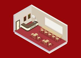 Canteen Isometric Free Vector
