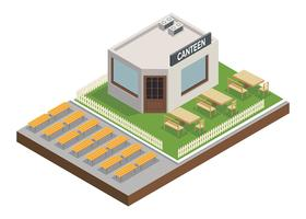 Canteen Outdoor Isometric Free Vector