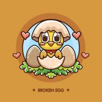 Free Broken Egg mit geschlüpften Chick Vector
