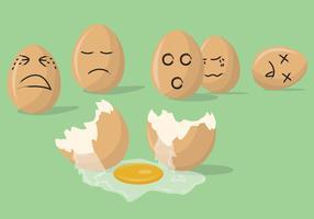 Vetores tristes de ovos quebrados