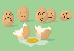 Triste huevo roto Vectores