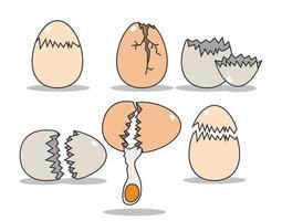 Broken ägg vektor uppsättning