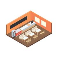 Canteen Isometric Angle Free Vector